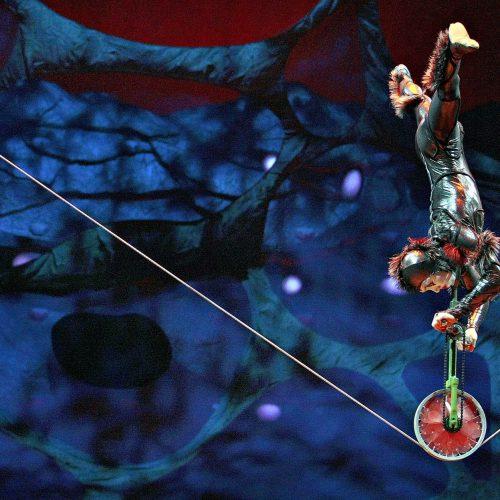 cirque du soleil un acrobate à l'envers sur un monocycle