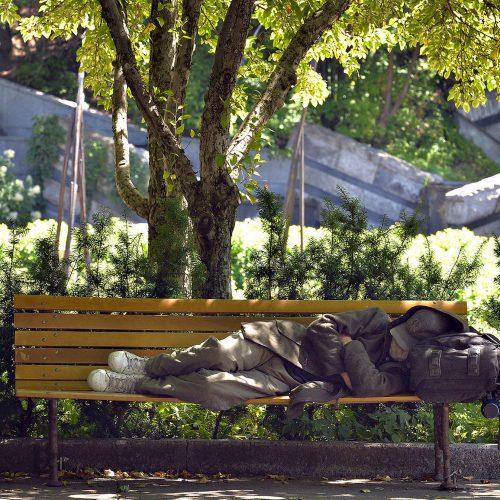 un itinérant couché sur un bac de parc