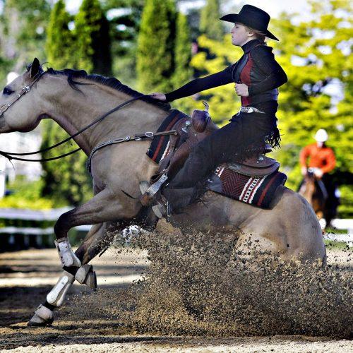 Femme avec chapeau de cowboy noir sur un cheval