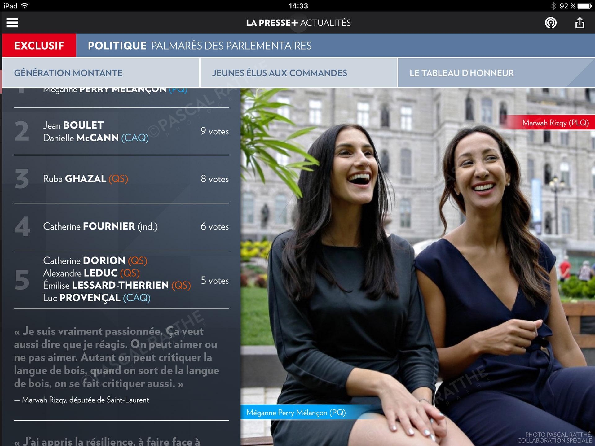 les etoiles de l'assemblee nationale, Portrait Megane Perry-Melancon PQ et Marwah Rizqy PLQ