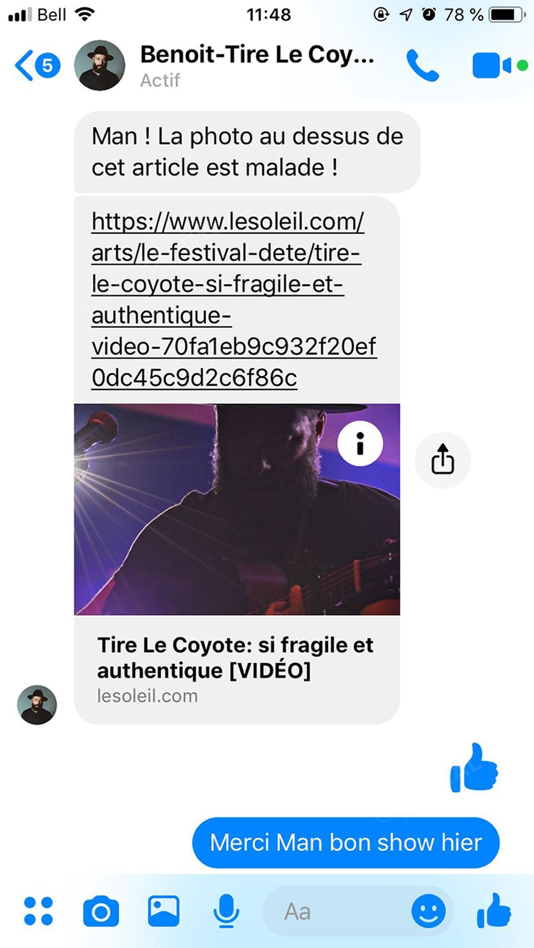 le chanteur tire le coyote en spectacle a place d'youville